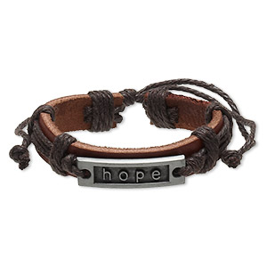 bracelet, leather (dyed) / waxed cotton cord / antiqued pewter (zinc-based alloy), brown, 12mm wide with 35x10mm rectangle and hope, adjustable from 6 to 10-1/2 inches with slip knot closure. sold per pkg of 2.