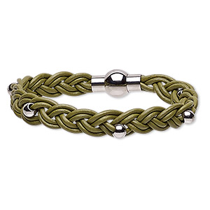bracelet, leather (dyed) and stainless steel, green, 11mm wide braided with 5mm round, 7-1/2 inches with magnetic clasp. sold individually.