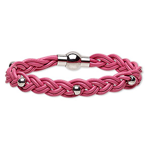 bracelet, leather (dyed) and stainless steel, pink, 11mm wide braided with 5mm round, 7 inches with magnetic clasp. sold individually.