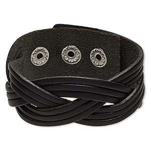 bracelet, leather (dyed) with imitation rhodium-plated steel and pewter (zinc-based alloy), black, 27mm wide with braided design, adjustable from 5-1/2 to 7 inches with snap closure. sold individually.