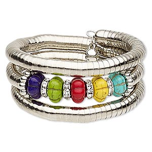 bracelet, magnesite (dyed / stabilized) / glass rhinestone / steel memory wire / silver-coated plastic / silver-plated steel, multicolored, 32mm wide spiral, 7-inch adjustable. sold individually.