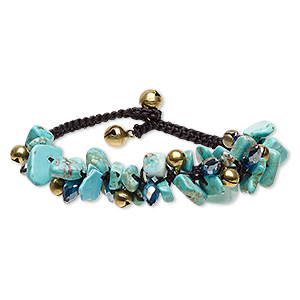 bracelet, magnesite (dyed / stabilized) / nylon / glass / gold-finished steel / brass, blue ab / blue / black, 18mm wide with chip and 8mm bell, 7 to 7-1/2 inches with button clasp. sold individually.