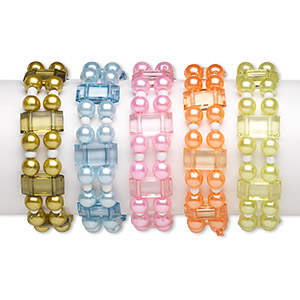 bracelet mix, 2-strand stretch, acrylic / glass / elastic, pearlized mixed colors, 7.5mm round and 17x8mm flat rectangle, 5-1/2 inches. sold per pkg of 5.