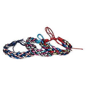 bracelet mix, cotton and nylon, mixed metallic colors, 12mm wide, adjustable from 6-1/2 to 8-1/2 inches with tie closure. sold per pkg of 3.