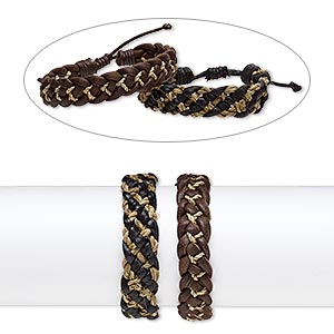 bracelet mix, leather and grass (natural / dyed), black and brown, 16mm wide, adjustable from 7-1/2 to 8-1/2 inches with knot closure. sold per pkg of 2.