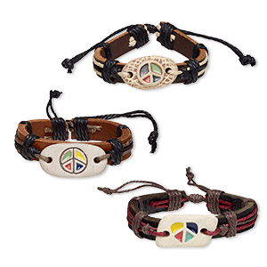 bracelet mix, leather (dyed) / cotton cord / porcelain, multicolored, 12mm wide with peace sign design, adjustable from 5-1/2 to 7-1/2 inches with knot closure. sold per pkg of 3.