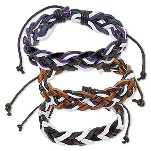 bracelet mix, leather (dyed) and waxed cotton cord, mixed colors, 12-16mm wide, adjustable from 6-8 inches with knot closure. sold per pkg of 3.