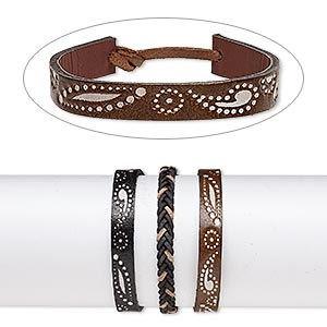 bracelet mix, leather (dyed), mixed colors, 6-10mm wide with embossed design, adjustable from 6 to 7-1/2 inches with tie closure. sold per pkg of 3.