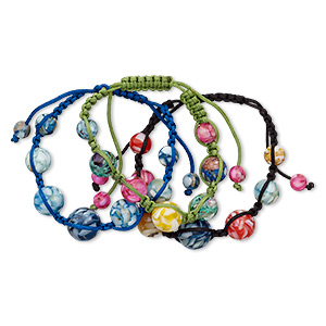 bracelet mix, mother-of-pearl shell (assembled) / nylon / resin, mixed colors, 8-16mm round, adjustable up to 10 inches with macrame knot closure. sold per pkg of 3.