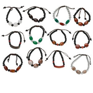 bracelet mix, multi-agate (natural / dyed / heated) and waxed cotton cord, mixed colors, adjustable from 5 to 7-1/2  inches with macrame knot closure. sold per pkg of 12.