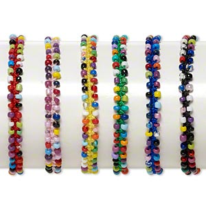 bracelet mix, nylon / porcelain / glass, multicolored, 7mm wide flat knot, adjustable from 6 to 7-1/2 inches with tie closure. sold per pkg of 6.