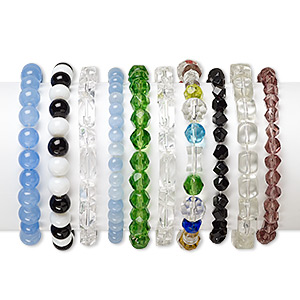 bracelet mix, stretch, glass and cats eye glass, mixed colors, 4mm-14x10mm mixed shape, 5 inches. sold per pkg of 10.