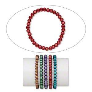 bracelet mix, stretch, glass pearl, jewel tones, 6mm round, 6 inches. sold per pkg of 5.
