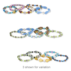 bracelet mix, stretch, glass with gold- and silver-coated acrylic, mixed colors, 5mm-22x15mm mixed shape, 7 inches. sold per pkg of 5.