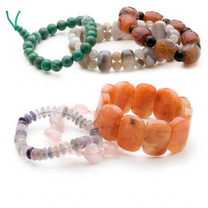 bracelet mix, stretch, multi-gemstone (natural / dyed / heated), 7-14mm wide with 5-25mm mixed shape, 6 inches. sold per pkg of 3.