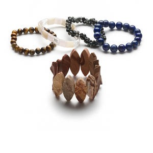 bracelet mix, stretch, multi-gemstone (natural / dyed) and glass, 4-12mm wide with 4mm-36x15mm mixed shape, 6-1/2 inches. sold per pkg of 5.