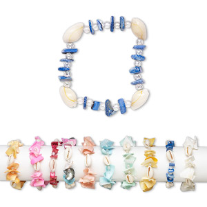 bracelet mix, stretch, multi-shell (natural / bleached / dyed) / glass / silver-coated plastic, mixed shape, 6-1/2 inches. sold per pkg of 10.