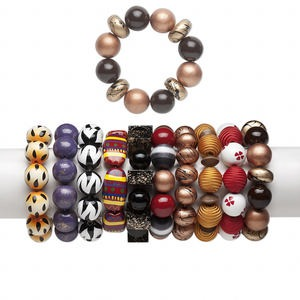 bracelet mix, stretch, painted wood, multicolored, 19-20mm wide with mixed shape, 6-1/2 inches. sold per pkg of 10.