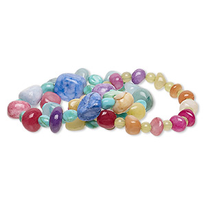 bracelet mix, stretch, quartz / agate (dyed / heated) / acrylic, multicolored, 6x5mm-17x16mm round / small to extra-large pebble / mini to medium nugget, 6-1/2 inches. sold per pkg of 3.