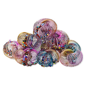 bracelet mix, stretch, steel and glass, assorted colors, adjustable from 6 to 7-1/2 inches. sold per pkg of 12.