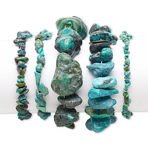 bracelet mix, stretch, turquoise (dyed / stabilized), mixed colors, mini to extra-large chip and mini to large nugget, 6 inches. sold per pkg of 5.
