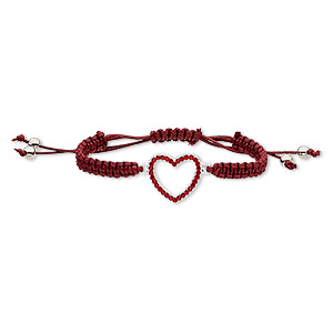 bracelet, nylon / glass rhinestone / silver-finished pewter (zinc-based alloy), dark red and red, 22mm wide with 24x22mm open heart, adjustable from 6-1/2 to 9-1/2 inches with macrame knot closure. sold individually.