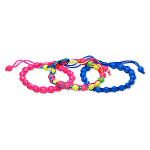 bracelet, nylon and acrylic, blue / neon pink / multicolored, 9mm wide with 8mm round, adjustable from 6-1/2 to 9 inches with wrapped knot closure. sold per pkg of 3.
