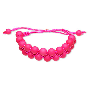 bracelet, nylon and acrylic, neon pink, 18mm wide with 8mm round, adjustable from 5-1/2 to 10 inches with wrapped knot closure. sold individually.