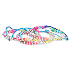bracelet, nylon and silver-coated plastic, multicolored, 8mm wide, adjustable from 6 to 8-1/2 inches with wrapped knot closure. sold per pkg of 3.