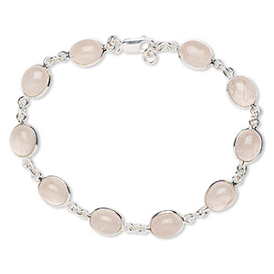 bracelet, rose quartz (natural) and sterling silver, 10x9mm oval, 8 inches with 1/4 inch extender chain and lobster claw clasp. sold individually.