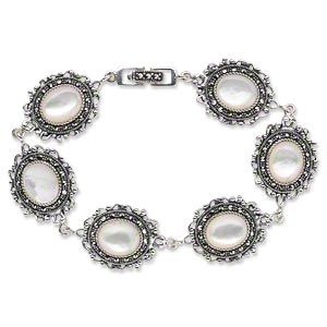 bracelet, signity marcasite / mother-of-pearl shell (natural) / antiqued sterling silver, 23x17mm oval, 6-1/2 inches with fold-over clasp. sold individually.