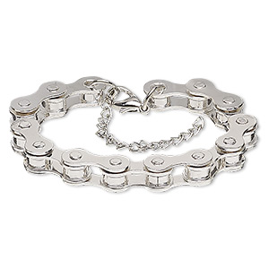bracelet, silver-plated steel, 6mm wide with 22x6mm bicycle chain, 6 inches with 2-inch extender chain and lobster claw clasp. sold individually.