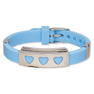 bracelet, softique™, silicone and stainless steel, aqua blue, 16mm wide with 39x16mm rectangle and cutout hearts, adjustable from 5-1/2 to 7-1/2 inches with buckle-style closure. sold individually.