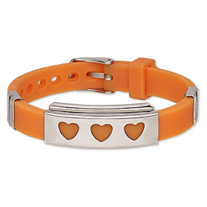 bracelet, softique™, silicone and stainless steel, orange, 16mm wide with 39x16mm rectangle and cutout hearts, adjustable from 5-1/2 to 7-1/2 inches with buckle-style closure. sold individually.
