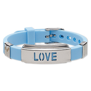 bracelet, softique™, silicone and stainless steel, turquoise blue, 16mm wide with 39x16mm curved rectangle and cutout love, adjustable from 5-1/2 to 7-1/2 inches with buckle-style closure. sold individually.