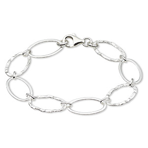 bracelet, sterling silver, 20x12mm long and short oval, 7-1/4 inches with lobster clasp. sold individually.