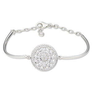 bracelet, sterling silver and cubic zirconia, clear, 2mm wide with 20mm flat round and flower, 7 inches with 1-1/2 inch extender chain and lobster claw clasp. sold individually.