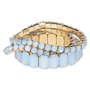 bracelet, stretch, acrylic / acrylic rhinestone / gold-finished steel, frosted blue, 6mm and 14mm wide cupchain, 7 inches. sold per 3-piece set.