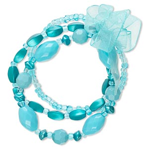 bracelet, stretch, acrylic / glass / nylon / organza ribbon, blue, 4-9mm wide, 6-1/2 inches. sold per pkg of 3.