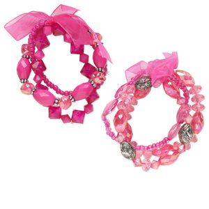 bracelet, stretch, acrylic / glass / organza ribbon / silver-coated plastic, hot pink, bicone and multi-shape, 6 inches. sold per pkg of 6.