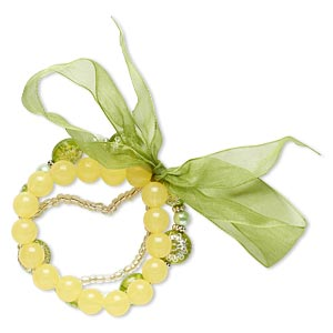 bracelet, stretch, acrylic / glass / organza ribbon / silver-coated plastic, yellow / green / clear, round and flat round, 7-1/2 inches. sold per pkg of 3.