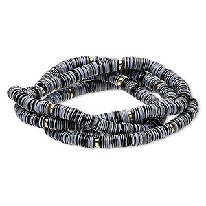 bracelet, stretch, acrylic and gold-coated plastic, black and grey, 5mm wide, 6-1/2 inches. sold per pkg of 4.