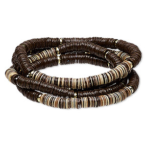 bracelet, stretch, acrylic and gold-coated plastic, dark brown / brown / tan, 5mm wide, 6 inches. sold per pkg of 4.