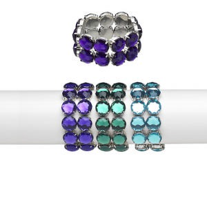 bracelet, stretch, acrylic and silver-plated steel, dark purple / green / aqua blue, 16mm faceted round, 6-1/2 inches. sold per pkg of 3.
