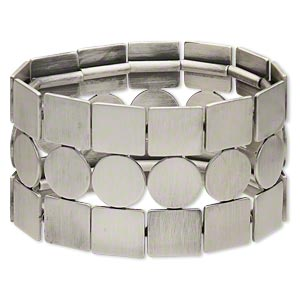 bracelet, stretch, antiqued silver-plated steel, 41mm wide with 3-row square and round, 7 inches. sold individually.