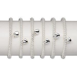 bracelet, stretch, brass and silver-coated plastic, twisted coil with 9mm heart, 7 inches. sold per pkg of 6.