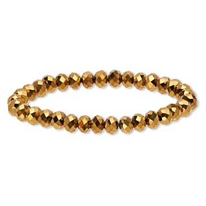 bracelet, stretch, celestial crystal, full-coat gold, 8x6mm faceted rondelle, 7-1/2 inches. sold individually.