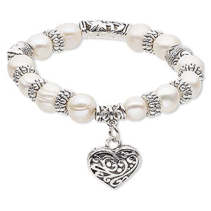 bracelet, stretch, cultured freshwater pearl (bleached) with antique silver-plated steel and pewter (zinc-based alloy), white, 10mm wide with 19x17mm heart, 6-1/2 inches. sold individually.
