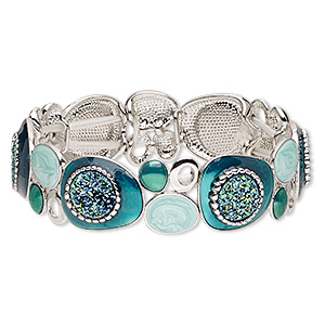 bracelet, stretch, druzy (imitation) / enamel / silver-plated brass / pewter (zinc-based alloy), blue / green / blue-green, 17mm wide with freeform design, 6-1/2 inches. sold individually.