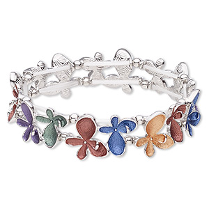 bracelet, stretch, enamel / imitation rhodium-coated plastic / imitation-rhodium-plated pewter (zinc-based alloy), multicolored, 19mm wide with butterfly, 7-1/2 inches. sold individually.